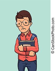 School nerd character in glasses holding books. Colored flat vector illustration. Isolated on blue background