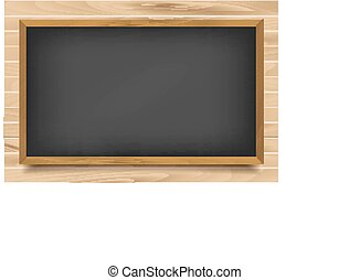 School nero Board on wooden background. Vector illustration