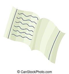School notebook icon, cartoon style
