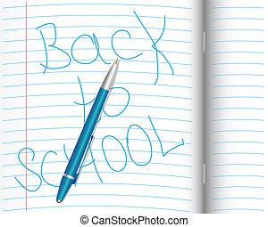 School notebook with pen