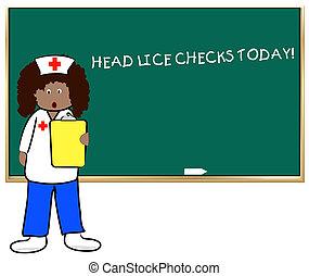 school nurse on head lice check day -