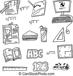 School object doodles vector