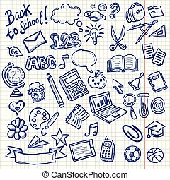School Objects Icons Doodle Collection