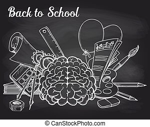 School objects on chalkboard