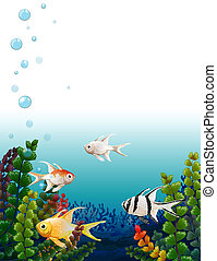 School of fishes under the sea - Illustration of the school...