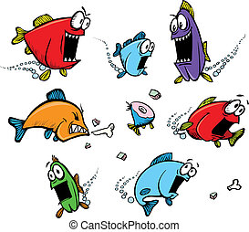 School of voracious fish - A school of cartoon, voracious...