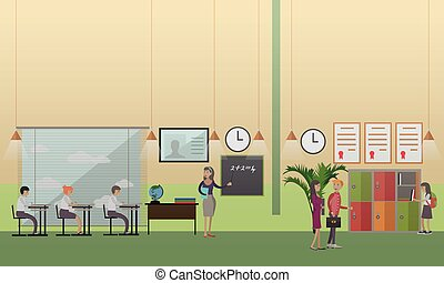 School office concept vector illustration in flat style
