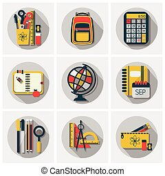 School & office stationery icon set