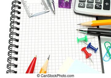 School office supplies close-up