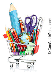 School office supplies into shopping cart