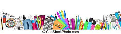 school / office supplies on white background