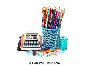 School office supplies on white background