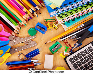 School office supplies. - School office supplies on board.