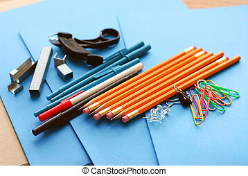 School office supplies - School or office supplies on blue...