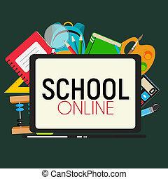 School Online Concept Background Illustration