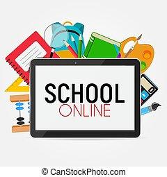 School Online Concept Background Vector Illustration
