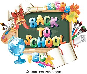 school, ontwerp, back, mal