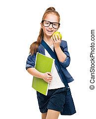 school, op, student, appel, vrijstaand, bril, boek, achtergrond, witte , vrolijke , kind, meisje, geitje