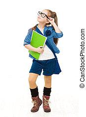 school, op, vasthouden, op, vrijstaand, bril, het kijken, boekjes , achtergrond, meisje, vrolijke , kind, witte , geitje