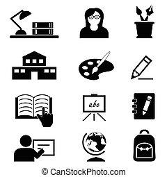 school, opleiding, en, universiteit, iconen