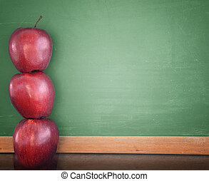 school, opleiding, krijten plank, met, appeltjes
