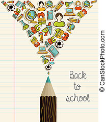 school, opleiding, pencil., back, iconen