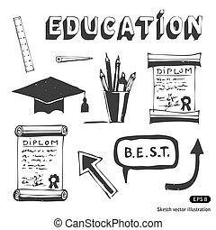 school, opleiding, set, iconen