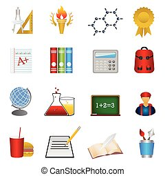 school, opleiding, set, pictogram