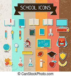 school, opleiding, set., sticker, iconen