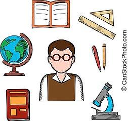 school, opleiding, voorwerpen, iconen