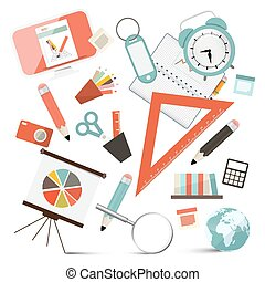 School or Business - Office Objects Set Vector Illustration
