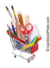 School or office supplies, drawing tools in a shopping cart...