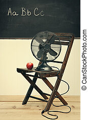 school, oud, appel, ventilator, stoel, kamer