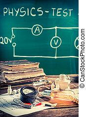 school, oud, ouderwetse , diagram, elektrisch, laboratorium, fysica