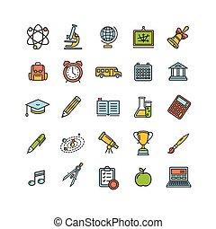 School Outline Color Icon Set. Vector