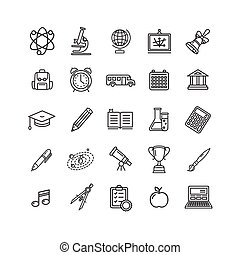 School Outline Icon Set. Vector