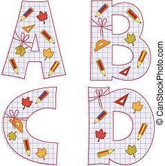 school paper alphabet. Letter A, B, C, D