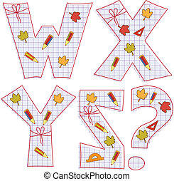school paper alphabet. Letter W, X, Y, Z,question mark