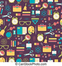 School pattern with colorful icons
