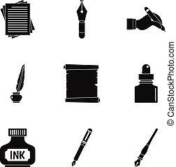School pen icon set, simple style - School pen icon set....