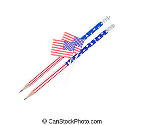 School pencils with American symbols