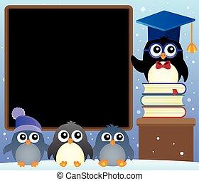 School penguins theme image 2