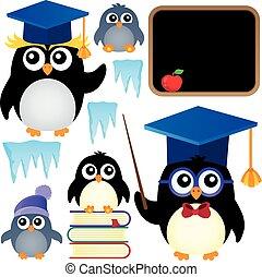 School penguins theme set 1