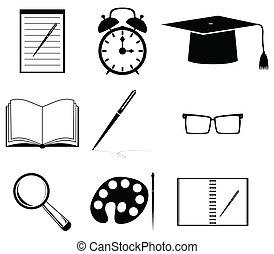 school, pictogram, set