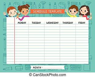 School plan schedule template memos set for children