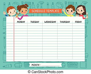 Kids timetable with beautiful teen character weekly for Weekly schedule template for kids