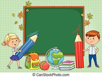 school, plank, leeg, voor, jouw, tekst, met, gekke , geitjes