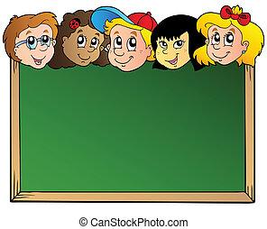 school, plank, met, kindergezichten