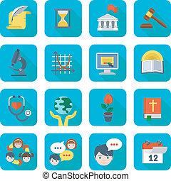 school, plein, set, iconen
