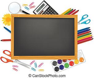 school., pretas, costas, escrivaninha